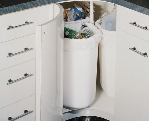 Corner kitchen Cabinet recycling containers